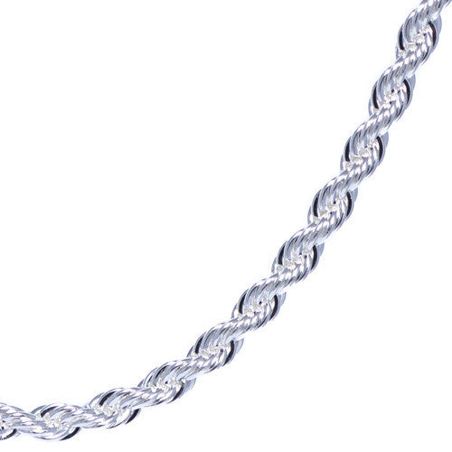 Men's 4mm Chrome Plated Rope Chain Necklace