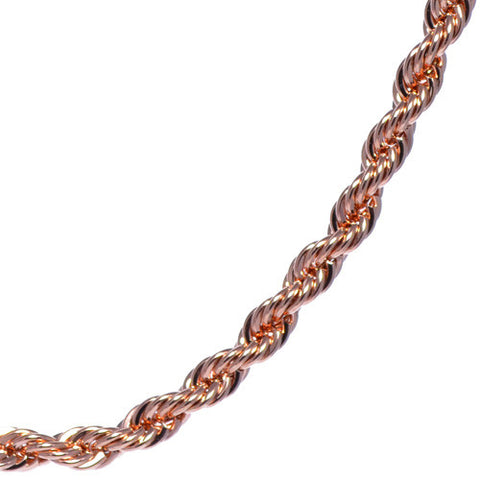 Men's 4mm Rose Gold Plated Rope Chain Necklace