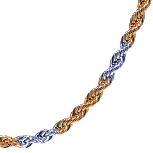 Men's 4mm Silver and Gold Plated Two Tone Rope Chain Necklace