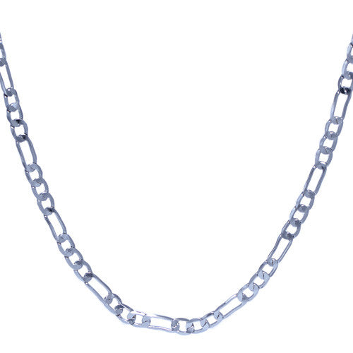 Men's 4mm Silver Plated Figaro Link Chain Necklace