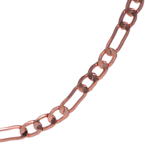 Men's 4mm Rose Gold Plated Figaro Chain Necklace