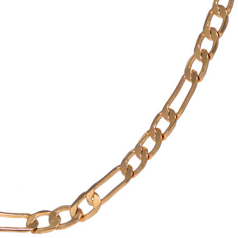 4mm Yellow Gold Plated Figaro Chain Necklace For Men