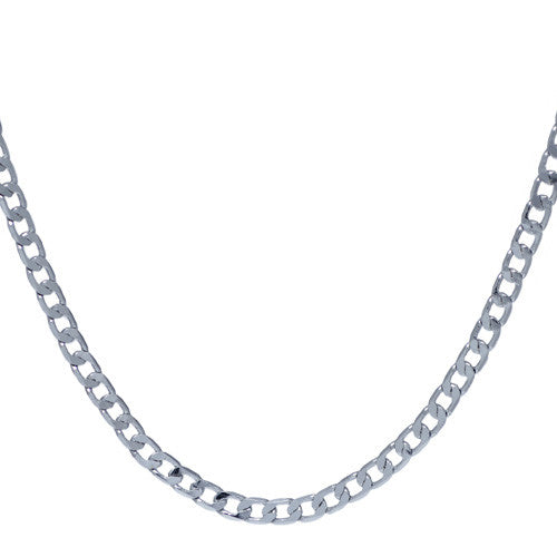 4mm Silver Plated Curb Chain Necklace For Men