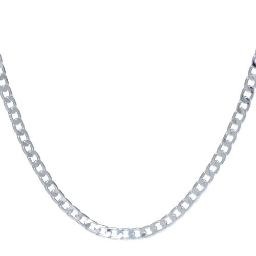 Men's 4mm Chrome Plated Curb Chain Necklace