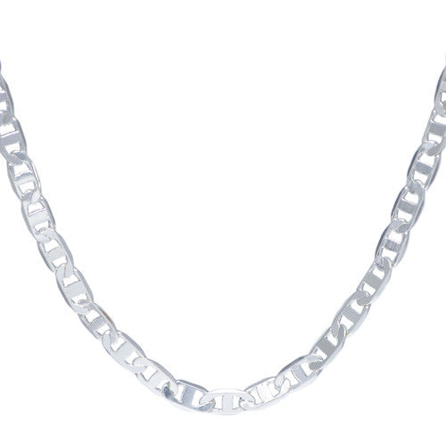 Men's 4mm Chrome Plated Marina Link Chain Necklace