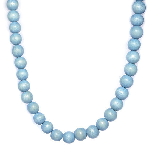 Men's Light Blue Wooden Bead Necklace