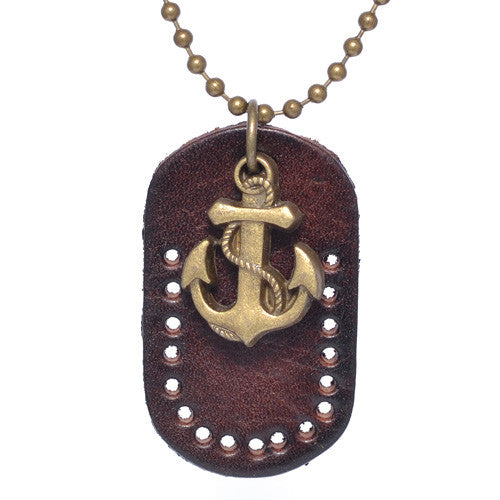 Men's Brass Anchor Necklace
