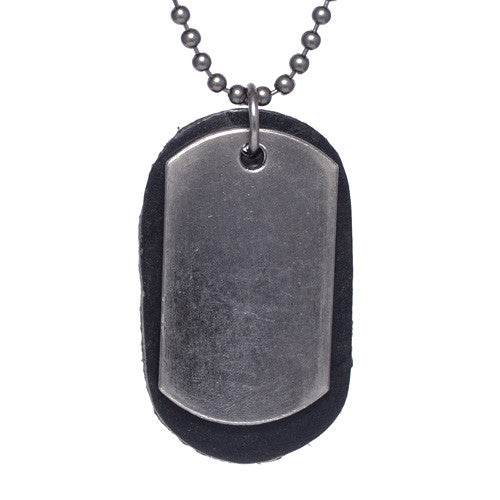 Brass Dog Tag Black Leather Necklace