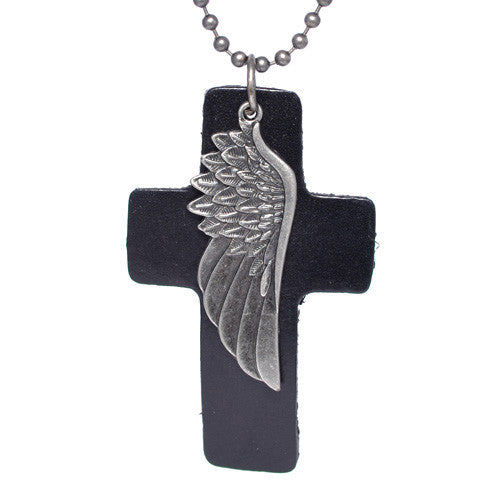 Men's Brass Wing Black Leather Necklace