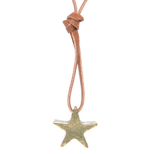 Brass Star Brown Leather Necklace