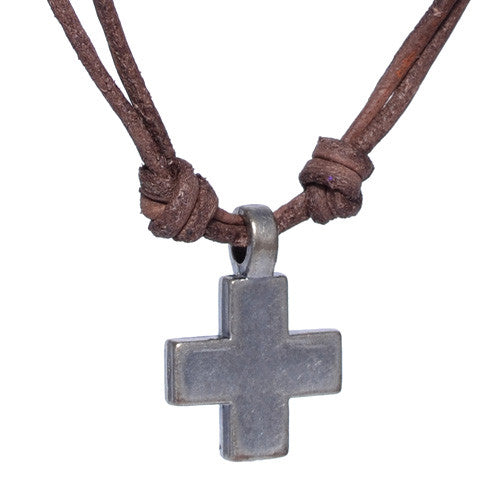 Men's Brass Cross Leather Necklace