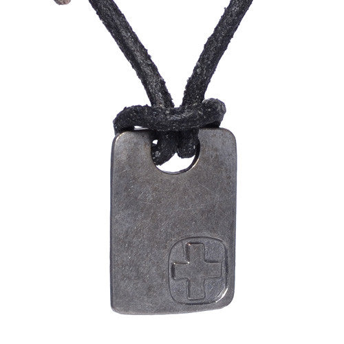 Square Dog Tag Leather Necklace