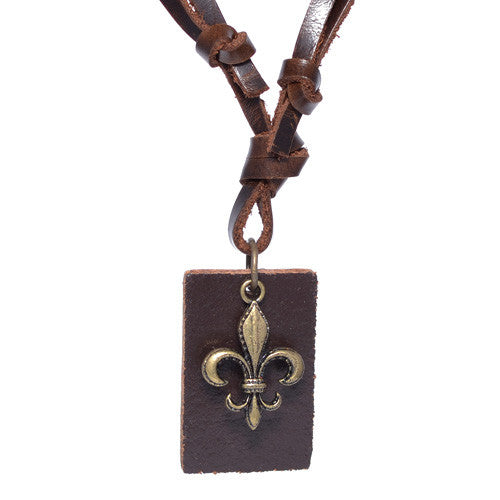 Men's Fleur-De-Lis Brown Leather Necklace