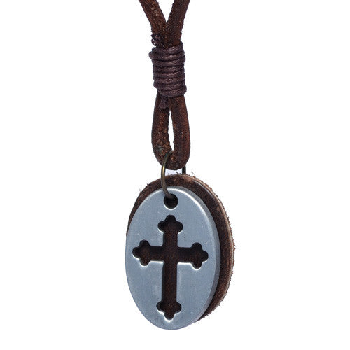 Brass Cross Tag Leather Necklace