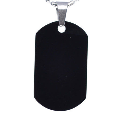 Black Stainless Steel Military Dog Tag Necklace