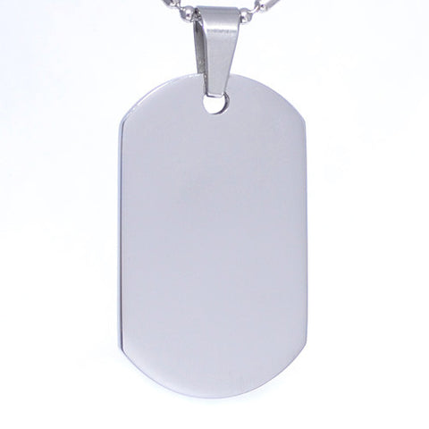 Polished Stainless Steel  Military Dog Tag Necklace