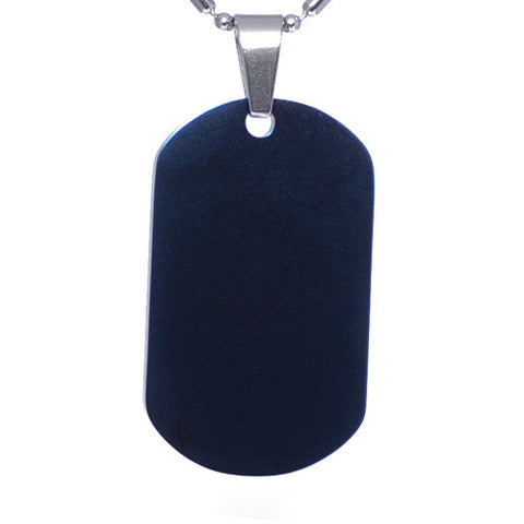 Blue Stainless Steel  Military Dog Tag Necklace