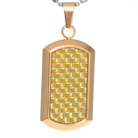 Gold Carbon Fiber Dog Tag Pendant