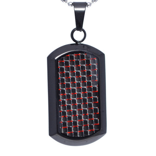 Red Carbon Fiber Dog Tag Pendant