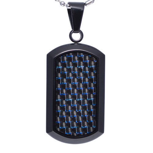 Blue Carbon Fiber Dog Tag Pendant