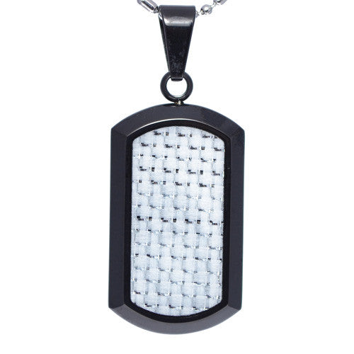 White Carbon Fiber Dog Tag Pendant