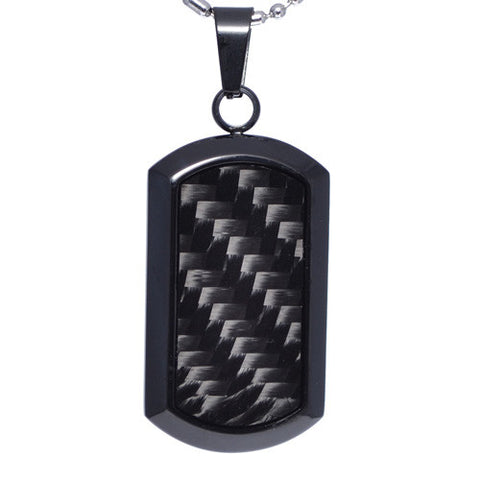 Black Carbon Fiber Dog Tag Pendant