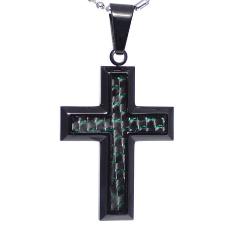 Green Carbon Fiber Insert Cross Pendant