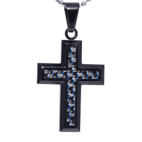 Blue Carbon Fiber Insert Cross Pendant