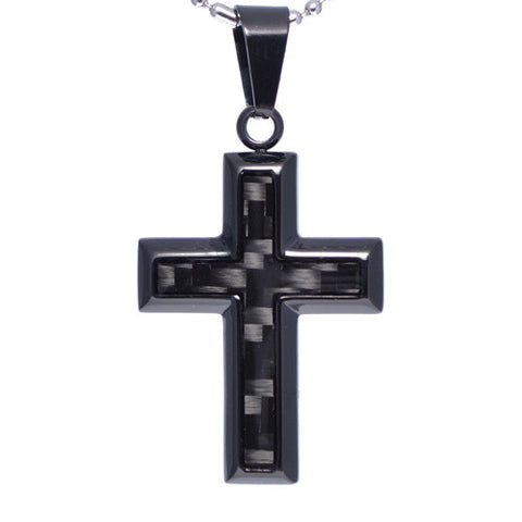 Men's Carbon Fiber Insert Cross Pendant