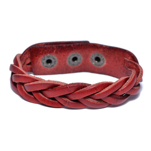 Men's Braided Red Leather Bracelet