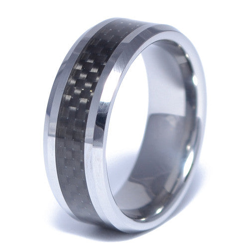 Men's Tungsten Alloy Carbon Fiber Inlay Ring