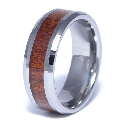 Men's Tungsten Alloy Wood Inlay Ring