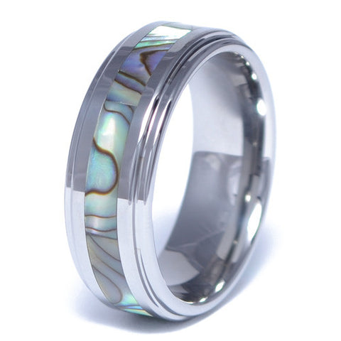Men's Abalone Inlay Tungsten Alloy Ring
