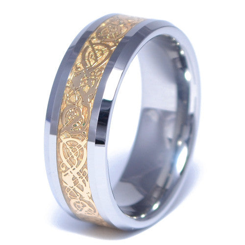 Men's Tungsten Alloy Gold Celtic Inlay Ring