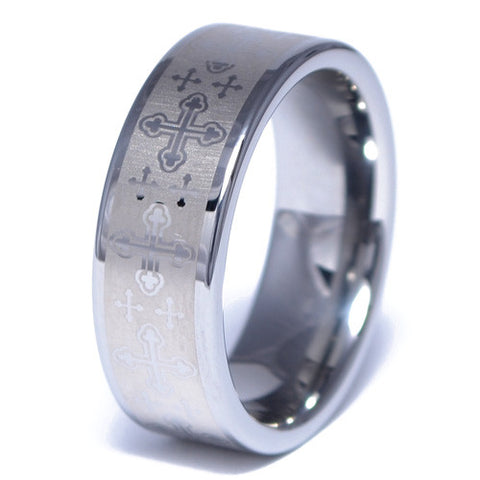 Men's Cross Pattern Tungsten Alloy Ring