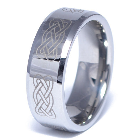 Polished Celtic Pattern Tungsten Alloy Ring