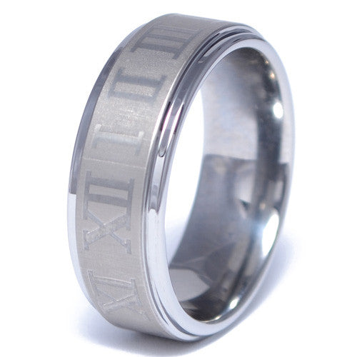 Men's Tungsten Alloy Roman Numeral Pattern Ring