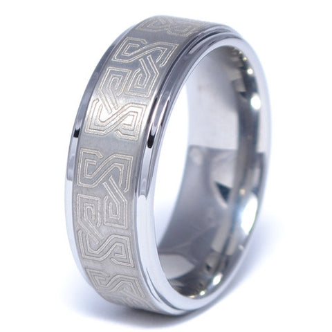 Men's Greek Pattern Tungsten Alloy Ring