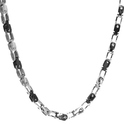 Men's Two-Tone Stainless Steel Link Necklace