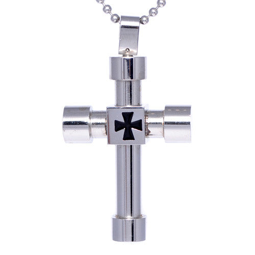 Men's Round End Stainless Steel Cross Pendant
