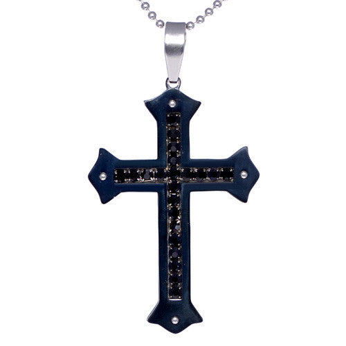 Men's Two-Tone Stainless Steel CZ Cross Pendant