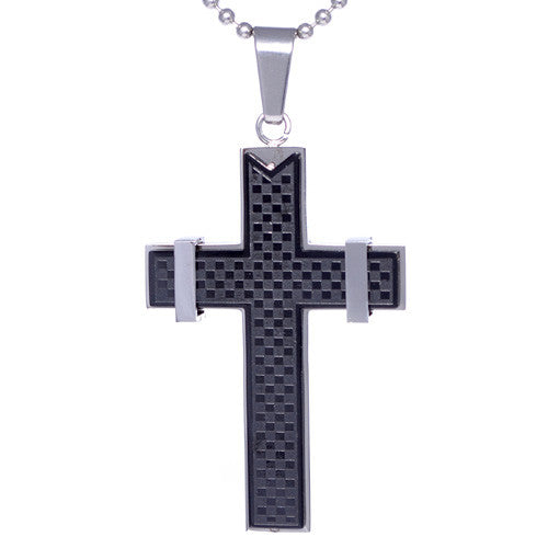 Two-Tone Stainless Steel Checkered Cross Pendant