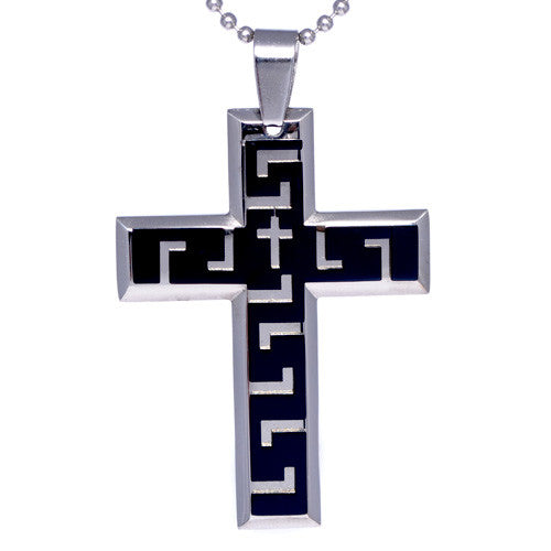 Men's Two-Tone Stainless Steel Cross Pendant