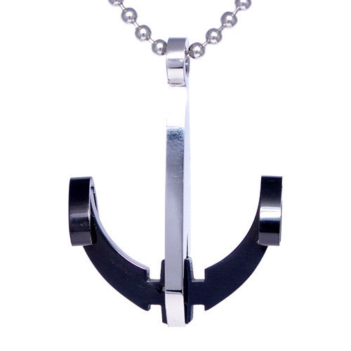 Men's Two-Tone Stainless Steel Anchor CZ Pendant