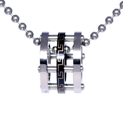 Greek Pattern Stainless Steel Ring Pendant
