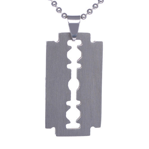 Men's Stainless Steel Razor Blade Pendant