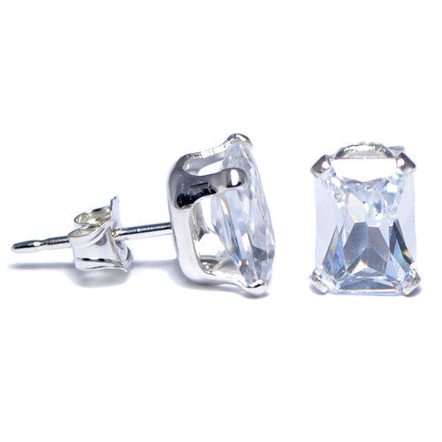 A set of star CZ stud earrings made of sterling silver. These stud earrings contain a clear emerald CZ stone and a butterfly backing. Get yours today!