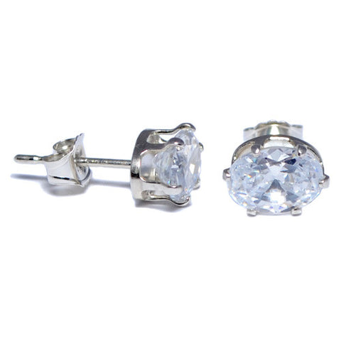 Sterling Silver Oval Clear CZ Stud Earrings
