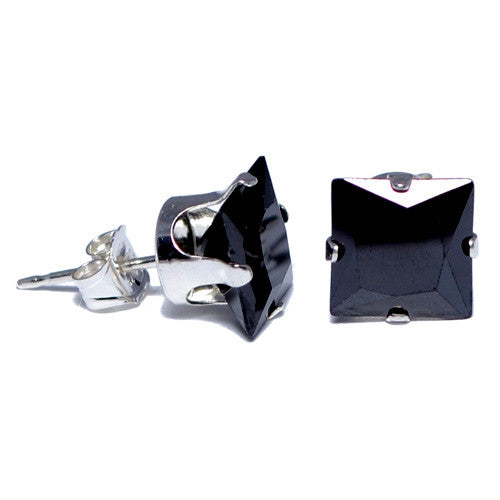 Sterling Silver Black CZ Square Stud Earrings