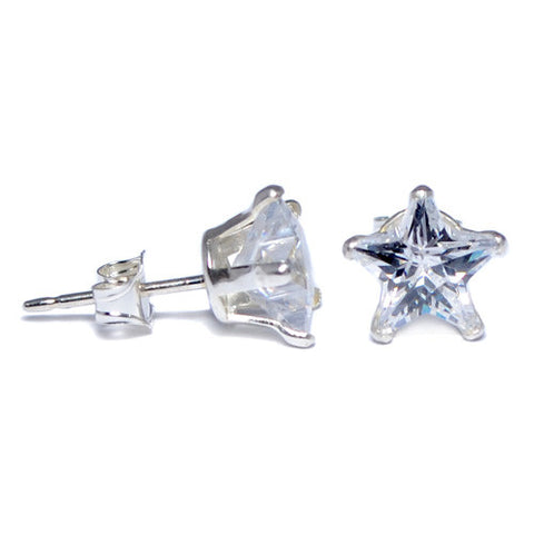 Sterling Silver Clear Star CZ Stud Earrings